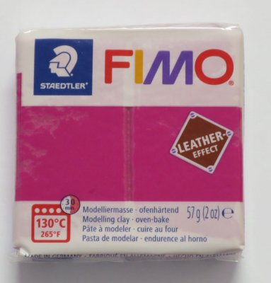 FIMO® Leather-effect, mörkrosa, 57g